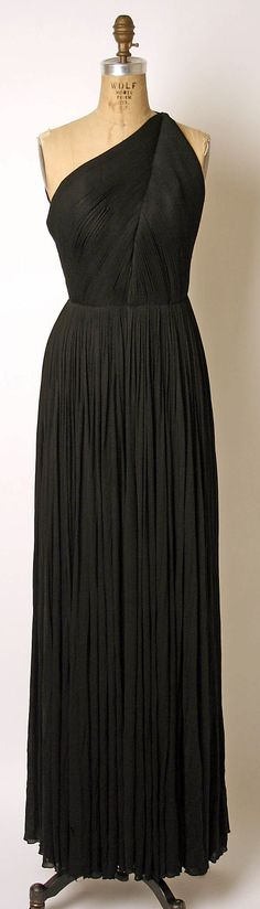 "Evening Dress (front), Madame Grès (Alix Barton) (French, Paris 1903–1993 Var region): 1981, French, silk. Marking: [label] ""GRES / 1 RUE DE LA PAIX PARIS"""