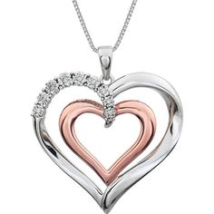 Double Heart .06ctw Diamond 14K Rose Gold-Plated Sterling Silver 18inch Necklace #Pendant