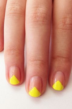 e. To get this DIY manicure, create a reverse V-shape nail design — an edgier take on a classic moon manicure.