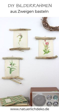 DIY picture holder made of branches - Natural wall design hang pictures on branches Branch decoration picture frames branches dec - Make Pictures, Home Decor Pictures, Hanging Pictures, Diy Photo, Cadre Photo Diy, Branch Decor, Wall Decor, Marco Diy, Cuadros Diy