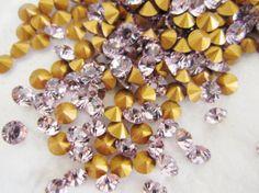 Wholesale Jewelry Supplies - Swarovski Rhinestone Crystals Chaton 20pp SS9 PP 20 Light Amethyst Purple Round Point Back 2.6 mm Wholesale Lot of 10 rhinestones $1.17
