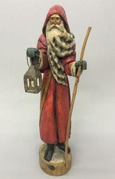 "Silvestri A. Costanza 15.5"" Tall Old World Santa w Lantern & Cane Resin Figure"