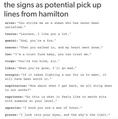 I couldn't care less about the horoscope; I'm pinning for Hamilton pick up lines. Alexander Hamilton, Mbti, Libra, Aquarius, Pisces Sign, Pisces Zodiac, Hamilton Musical, Out Of Touch, Zodiac Society