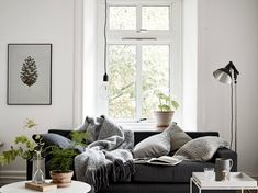 Furniture - living room : cozy one room flat - via cocolapin Living Furniture, Living Room Interior, Home Interior, Living Room Decor, Interior Design, Small Furniture, Living Room Scandinavian, Scandinavian Style, Nordic Living