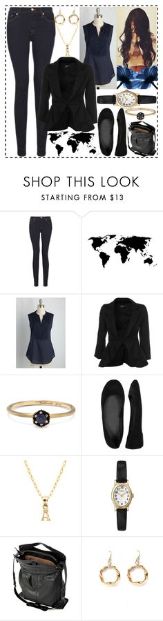 """""""Geography Lesson"""" by dev-lynn ❤ liked on Polyvore featuring 7 For All Mankind, Satomi Kawakita, Wet Seal, Pori, Timex, Jérôme Dreyfuss and Alicia Marilyn Designs"""