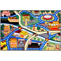 Children's City Streets Design Multicolor Area Rug (5' x 6'6) | Overstock.com Shopping - Great Deals on 5x8 - 6x9 Rugs