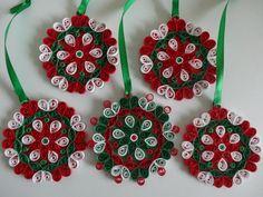 FIVE Christmas decoration Christmas tree decoratios by IvyArtWorks, $25.00