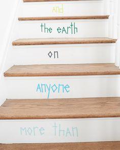 Washi Tape Stair DIY via Honesttonod.com #kids #decor #estella