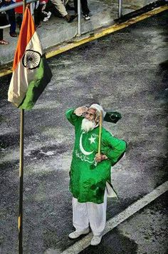 Indian Flag and man