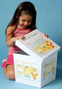 """IDEA: Storing Your Child's Religious Keepsakes:  From Baptism and beyond, Catholic Child's Sacramental Keepsake Box helps give those precious photos, mementos and keepsakes a safe and organized place to call home... Plus as your child grows up, he or she will LOVE having their own """"treasure box"""" filled with special remembrances that help to tell the story of their sacramental journey! http://www.catholicchild.com/SACRAMENTAL-KEEPSAKE-BOX/productinfo/20335/  #keepsakebox #organization…"""