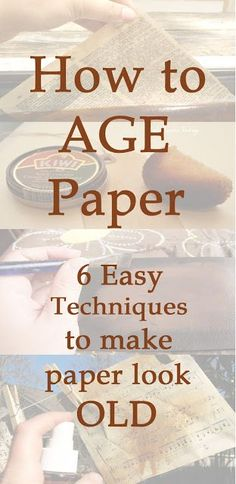 scrappin it: How to Age Paper – 6 easy technique to make paper look old scrappin it: How to Age Paper – 6 einfache Technik, um Papier alt aussehen zu lassen Altered Books, How To Age Paper, Look Vintage, Old Books, Mix Media, Book Making, Diy Making Books Look Old, Diy Paper, Handmade Cards