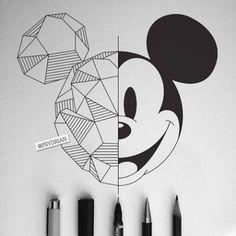 Disney Art Geometric Mickey Mouse - - Beste Pins - all - Z Mesh, A Cool Art Drawings, Pencil Art Drawings, Easy Drawings, Art Sketches, Wall Drawing, Drawing Ideas, Doodle Art Drawing, Mickey Mouse Drawings, Disney Drawings