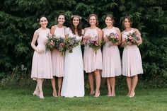Etsy pastel pink maid to order bridesmaid dresses - Image by Anna Pumer Photography - Bespoke Lace Bridal Gown with Pastel Pink Bridesmaid Dresses, Traditional Morning Suit Groomsmen for an Outdoor Marquee Reception in a field with Rustic Decor & Paper Lanterns.
