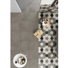 Casa Rosselló || Porcelanato Tipo Concreto Hexagonal Rewind Peltro