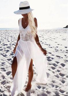 Boho Style | Saída de Praia Longa Macramê                                                                                                                                                                                 Mais