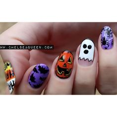 i love halloween nail designs Get Nails, Fancy Nails, Love Nails, Hair And Nails, Pretty Nails, Holiday Nail Designs, Holiday Nail Art, Cute Nail Designs, Art Designs