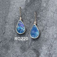 925 sterling silver Roman Glass Earrings.