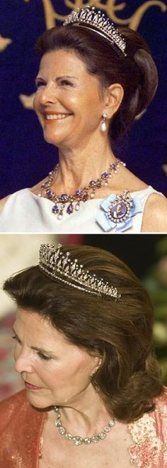 Queen Silvia with the modern fringe tiara necklace  Photo 1; Queen Silvia  Photo 2; Queen SIlvia birthday dinner in Denmark 2010
