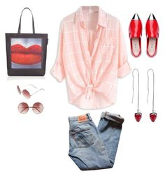 """""""pop."""" by emilykatephilip on Polyvore featuring Levi's, A.J. Morgan, Lulu Guinness and Marc Jacobs"""
