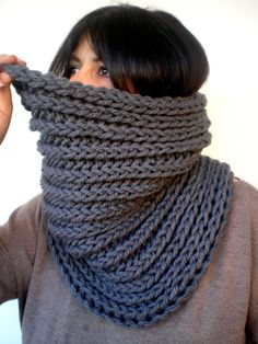 "Stone Grey Harmonic Cowl Super Soft  Wool Neckwarmer by GiuliaKnit, $59.00 28"" long and 15"" high"