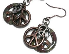 Peace Sign Earrings, Hippie Jewelry,  Layered Charms,  Halloween Hippie Costume, Proceeds to Charity, Retro Accessories