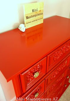Refinished high gloss red dresser. Done by Mini Masterpieces AZ.  http://www.minimasterpiecesaz.com/