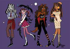 Monster High by reimena on DeviantArt Arte Monster High, Monster Prom, Monster High Dolls, Monster Girl, Character Art, Character Design, Personajes Monster High, Monster High Characters, Dibujos Cute