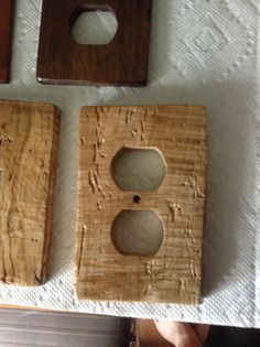 Outlet cover from wood