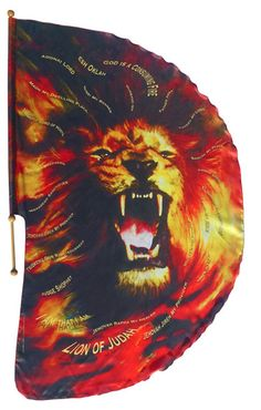 ROAR Lion of Judah Flag: Flag has 24 names of God in English and Hebrew in the Lion's mane.  This flag when waved in warfare (quicker movement) makes a cracking sound that the enemy cannot stand!