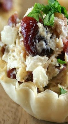 Cranberry Rotisserie Chicken Cups ~~~ The combination of the flavorful roasted chicken along with a hint of onions, mustard, garlic and of course the cranberries are a dreamy bite of heaven.