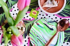 luzia pimpinella   DIY   marmorierte untersetzer selbermachen - green {tea} is the new black