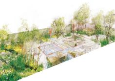 English garden designer Sarah Price's drawing of her garden, sponsored by The Daily Telegraph, for the 2012 RHS Chelsea Flower Show (May 22-26), was inspired by the wild places in the British landscape and evokes its beauty and romance. Perennials, grasses, and meadow flowers surround Chilmark limestone.