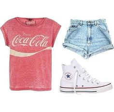 Coca cola t-shirt, high waisted shorts with high top converse.