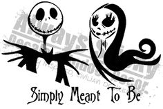 """Jack and Sally Card Decal  """"Simply Meant To Be"""" can be changed.  http://www.alwaysstickydecals.com/randomocity-store.html"""