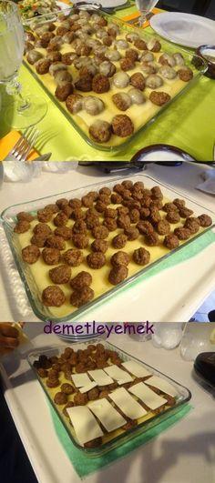 Şık bir sunum... Malzemeler Köfte için: 1 kilogram kıyma 1 tane kuru soğan 1 tane yumurta Yarım kuru ekmeğin içi Bir tatlı ka...