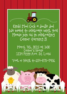 Custom Farm/Barn Animal Birthday Party Invitation by SchmancyStuff