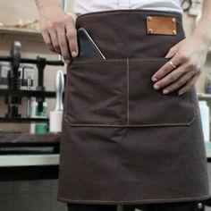 Unisex Half Length Blue Denim/Green,Black, Brown Canvas Apron with Genuine Leather Waist Straps. Suitable for Uniforms of Barber,Barista,Bartender,Chef,Stylist,Waiter/Waitress,Hairdresser,Florist,Painter,Gardener, Baker,Carpenter,Woodworker or Work wear of Salon,Bakery,Cafe,Hotel,Restaurant,Bistro,Tattoo shop,Craft workshop etc.