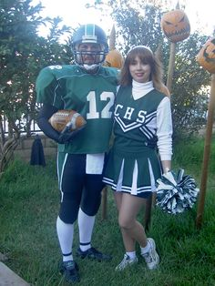 Us as a football player and cheerleader in 2009. Both costumes were completely thrift store finds.