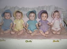 7in. Composition Dionne Quintuplet Dolls all Original w/Furniture-Alexander