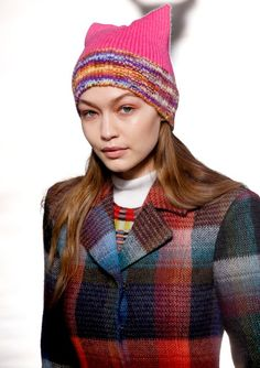 Gigi Hadid and models wear pink pussy hats in Missoni fall 2017 fashion show
