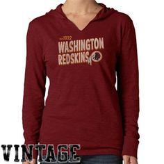 '47 Brand Washington Redskins Ladies Primetime Long Sleeve Hooded T-Shirt - Burgundy#Fanatics