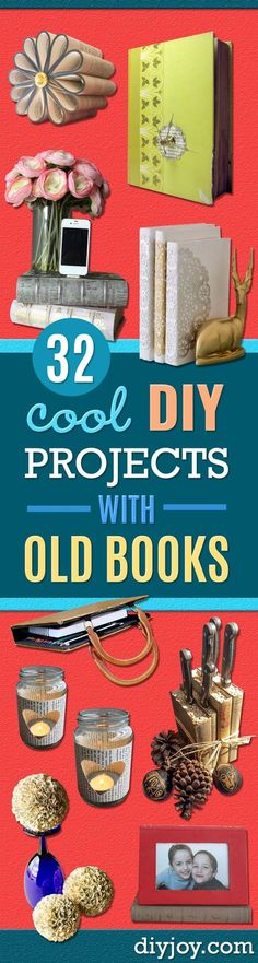 DIY Projects Made With Old Books - Make DIY Gifts, Crafts and Home Decor With Old Book Pages and Hardcover and Paperbacks - Easy Shelving, Decorations, Wall Art and Centerpices with BOOKS http://diyjoy.com/diy-projects-old-books