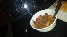 11/01: Testing my slow cooker with some hearty beef stew.  The meat was bad and the potatoes uncooked, but it's the principle of the thing.  #unphotogenictablet