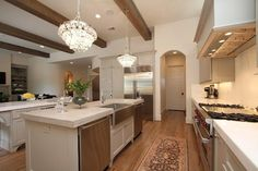 apron sink & faucet, with cabinet below as I wish Transitional Kitchen - contemporary - kitchen - houston - Cason Graye Homes