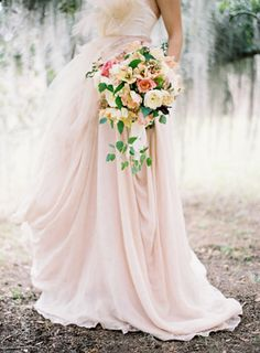 romantic gown and flowers