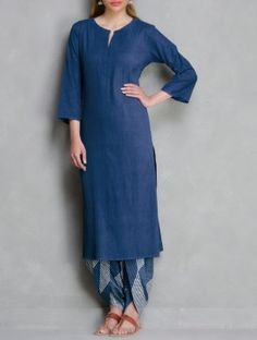 Indigo Pintuck Cotton Kurta by Ruh Indian Suits, Indian Dresses, Indian Wear, Indian Attire, Fashion Pants, Fashion Outfits, Fashion Models, Nice Dresses, Casual Dresses