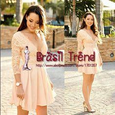Aliexpress.com: Compre 2015 nova Vestidos moda Chiffon mulheres verão tendência do partido de manga Vestido de festa de confiança vestir-se princesa partido fornecedores em Brasil Trend