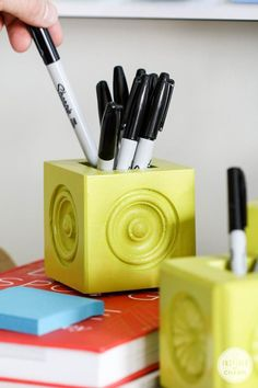 Create fun and personalized pen/pencil holders.