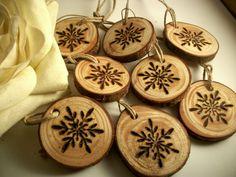 8 Natural Snowflake Wooden Tree Branch Tags for holiday decor, wood burned with a snowflake. Perfect for small tree decorating , Wine Charms,