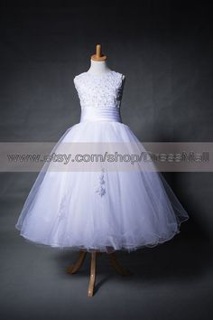 Catholic First Communion Dresses | White First Communion Dresses Tea Length Girl's por DressMall